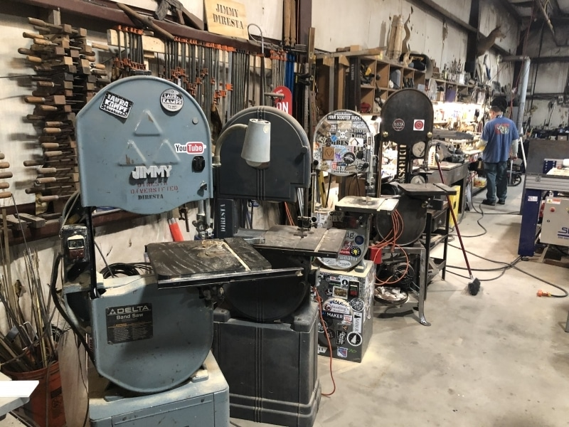 Jimmy has a lot of bandsaws!