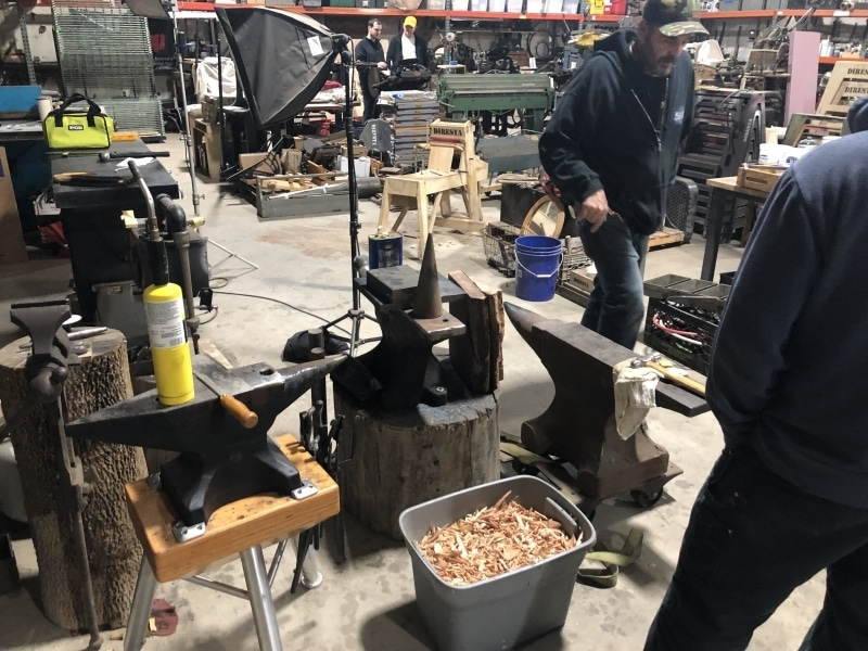 Anvils in the blacksmith area